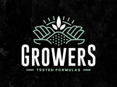 Growers Logo weed marijuana icon organic americana identity line leaf hands soil branding brand