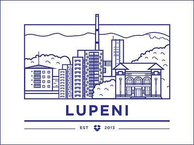 Lupeni Office vector illustration landscape simple flat city lupeni