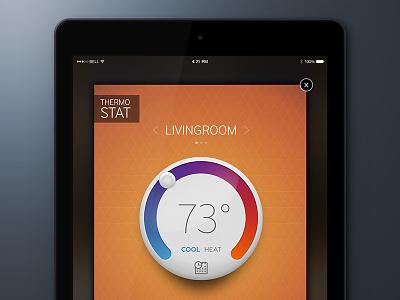 Thermostat thermostat ui app design ux orange colorful
