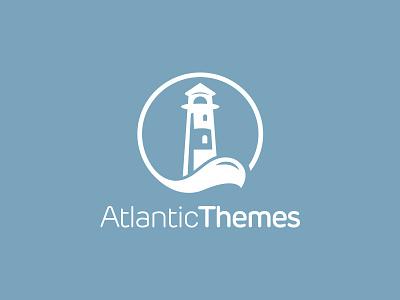 Atlantic Themes Logo atlantic logo brand identity flat blue water lighthouse