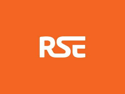 RSE Logo rse logo branding lettermark wordmark font orange