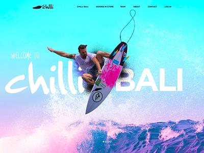 Chilli Surfboards color uiuxdesign uiux landing design webdesign chillin surf board surf