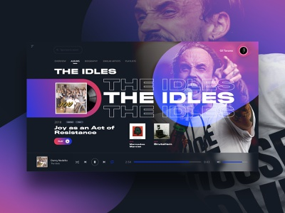 The Idles Music Player web design app design digital sketch musicplayer music uxdesign uidesign uiux idles