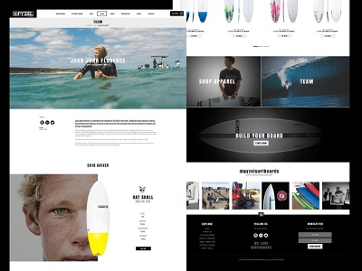 Pyzel Surfboards website webdesigner website web uiux ui surf surfboard interface blackandwhite black  white