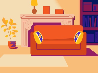 Home sweet home interior peace livingroom blue vector flat illustration design