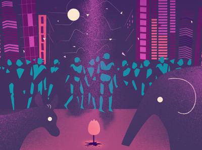right or left donkey elephant buildings night politics purple vector flat illustration design