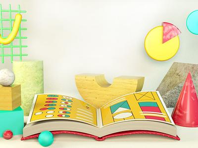 Math Book textbook book graphs shapes geometry stem steam mathematics cinema4d c4d vector design