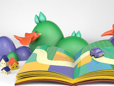 travel cartoon 3d art 3d village book travel houses house birds bird cinema4d c4d design
