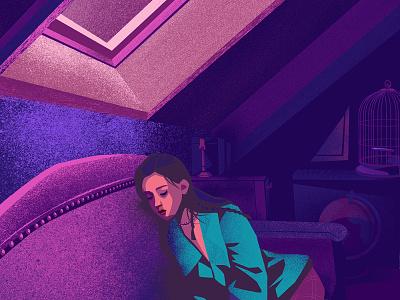 Attic nostalgic sleep moon nightlight graphicdesign illustration illustrator purple dream girls girl room interior attic design
