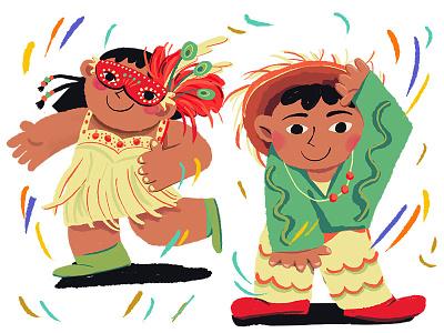 carnival celebration fun colorful confetti girls boys dance carnival character design flat illustration design