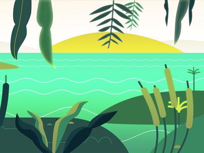 Tropical Island tropical vacation water island wetland plants green relax summer branding flat vector graphic design