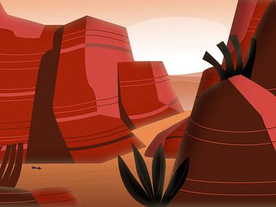 Grand Canyon dry desert catus cliff rock minimalist minimal arizona branding flat vector illustration design red geography scenery nature canyon grand