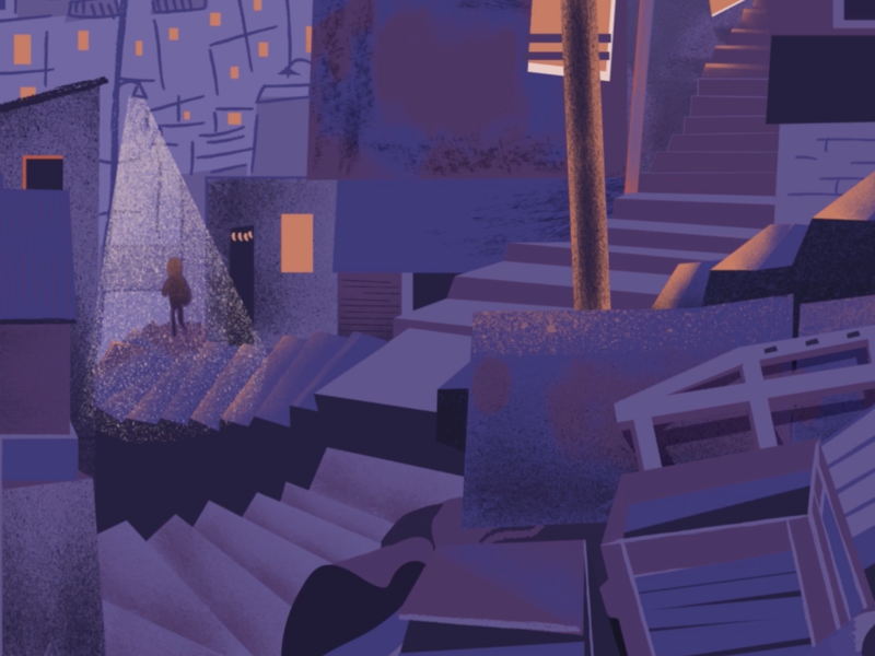 2070 City flat vector animation illustration design