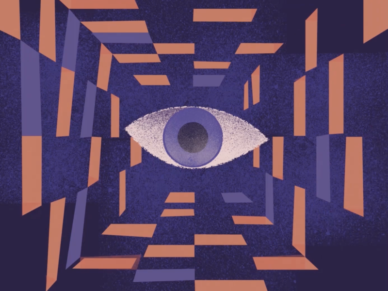 2070 City : Surveillance Eye vector flat animation illustration design