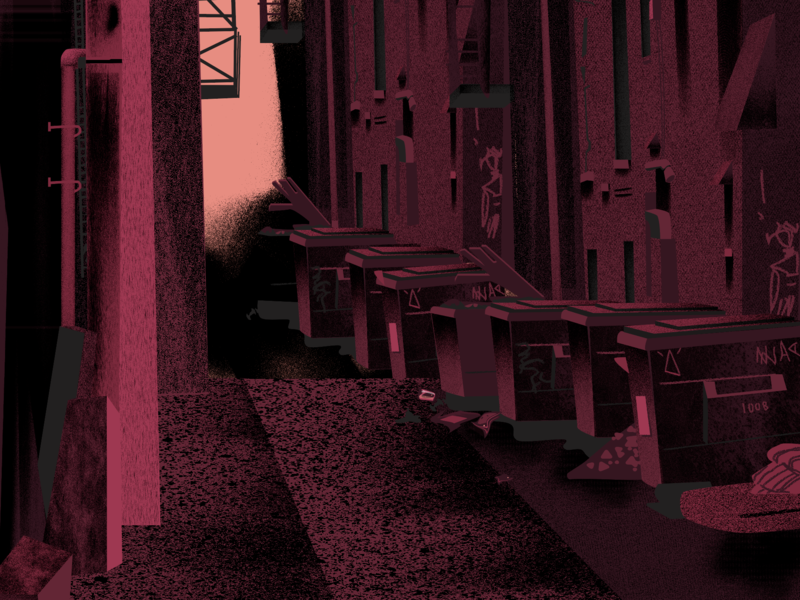 back alley anxiety creepy flat motion animation vector illustration animation design