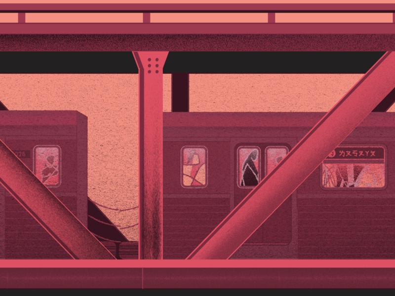 on Manhattan Bridge train bridge manhattan anxiety motion animation vector flat animation illustration design