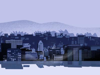 flood in Manhattan blue rainy flood sad motion animation vector flat animation illustration design