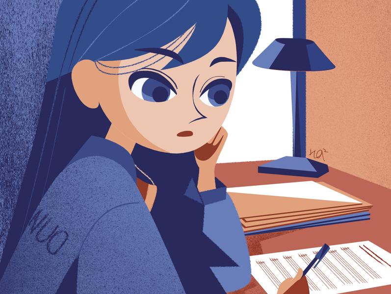Studying nostalgic school childrens book girls character design vector flat illustration