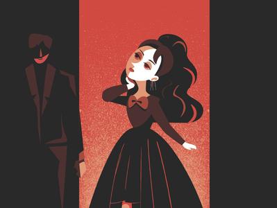 Lavitate gothic dark mode boy girl character design vector flat animation design illustration