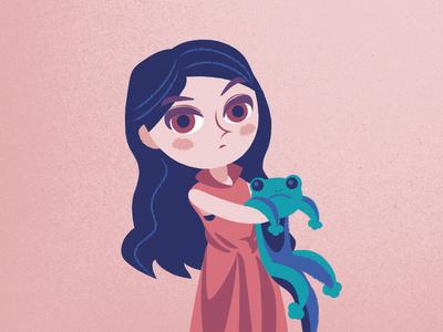 Girl and Gecko singer children pink toy lizard girl character design vector flat illustration design