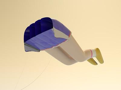 Broken Legs in the Wind character design 3dartist 3dart 3d whimsical cute kite toy modelling cinema4d design illustration