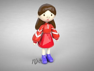 Simple Girl Model modeling whimsical cute art girl 3d artist 3d art cinema4d branding character design animation design