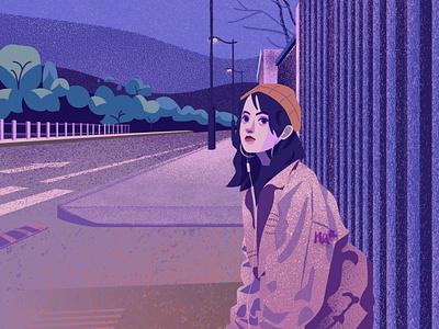 After School airbrush purple branding flat vector illustration illustrator streetwear fashion illustration girl character design animation design