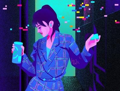 Music On fashion trippy tipsy urban purple blue girl character design animation vector flat illustration design