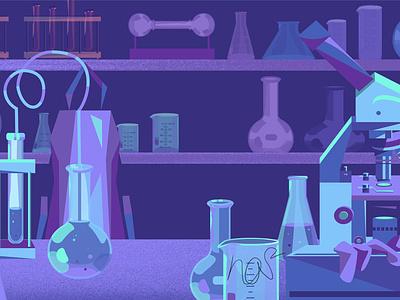 laboratory sci-fi laboratory game art purple blue vector flat design illustration