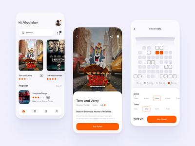 Cinema App mobile app figma city ux vector booking design white web ui cinema