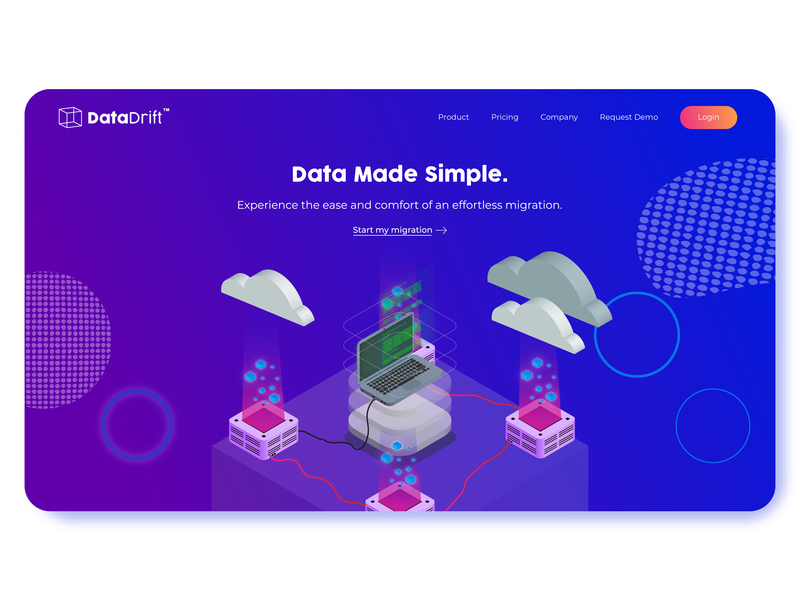 Data Drift Landing Page isometric design website seattle ux designer saas landing page