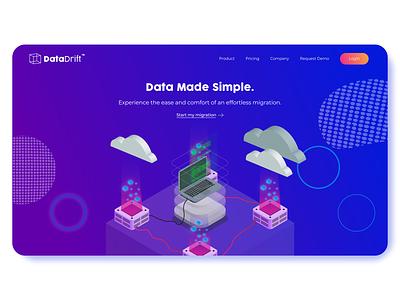 Data Drift Landing Page isometric design website seattle ux designer saas landing page