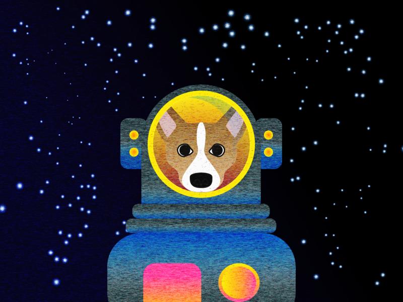 """Corgi in Space"" pixalate mezzotint dog animation vector ui photoshop illustration design ux designer seattle ux corgi"
