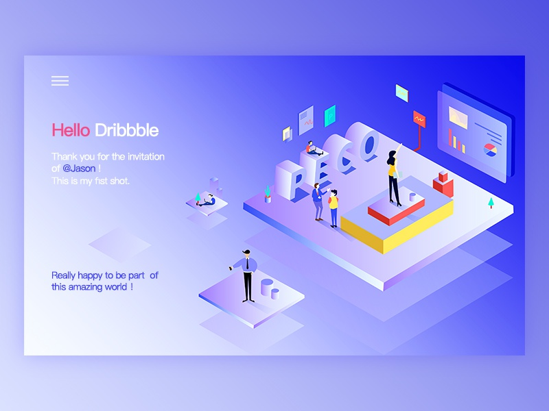 Cheers! bule illustrate 2.5d design web ui