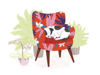 Sleeping Dog in Armchair – Light Version