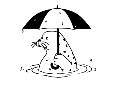 Vancouver: Seal with Umbrella cute ocean vancouver bw white black black and white graphic umbrella seal