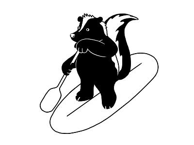 Vancouver Skunk graphic minimal white black skunks animal sports paddle paddleboarding water vancouver skunk