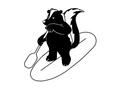 Vancouver Skunk graphic minimal white black skunks animal sports paddle paddleboarding water vancouver skunk