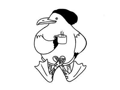 Seagull Hipster bird hip coffee beanie tattoos minimal black line outline black and white hipster seagull