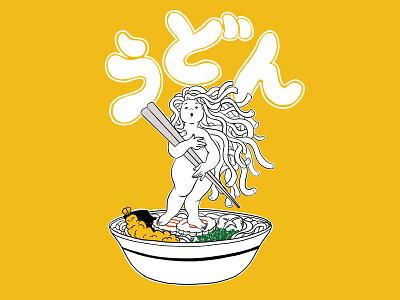 Udon Girl anime girl restaurant cuisine japan japanese black and white line black noodles noodle udon