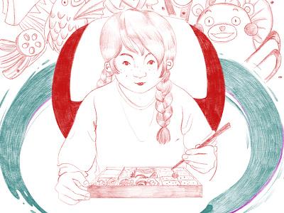 Bento Box chopsticks food anime shinkansen pencil crayon japan japanese bento