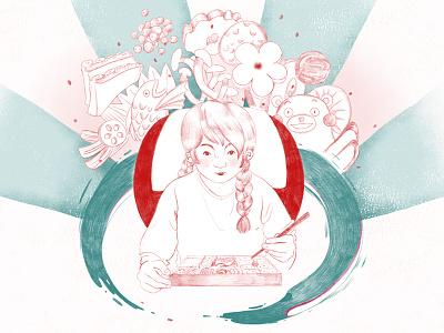 Bento Box Full outline sketch drawing chopsticks food anime shinkansen pencil crayon japan japanese bento