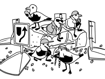 The Roundabout Gang humor drawing outline bw blackandwhite funny birds seagull digital illustration gang