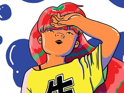 Girl in the Heat of Summer japanese illustration outline red hair vibrant sun manga anime girl beer heat summer
