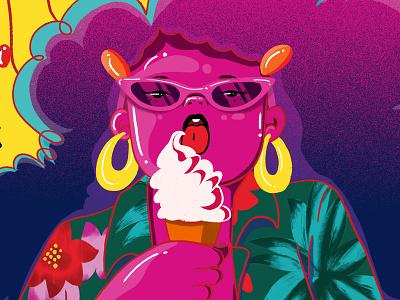 Sassy Ice Cream Girl fashion hawaiian tropical hot pink sassy female women woman girl summer ice cream