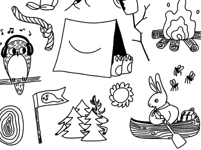 Close Crop of Summer Camp Theme #1 animals kids youth sports fire canoe nature adventure owl tent camp summer