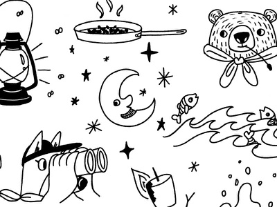 Close Crop of Summer Camp Theme #2 pattern youth fireplace line drawing bear tent summer camping camp