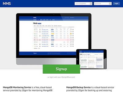 MMS 10gen Theme ui landing page dashboard monitoring database mongodb login