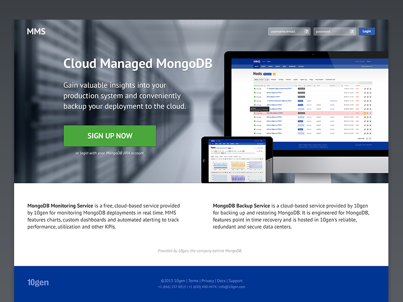 MMS Landing v2 ui landing page splash page marketing login signup database mongodb monitoring developer tools