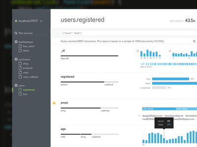MongoDB Scout Sneak Peek histogram dashboard schema database mongodb minimal clean flat ux ui